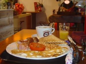 Detalle del desayuno inglés