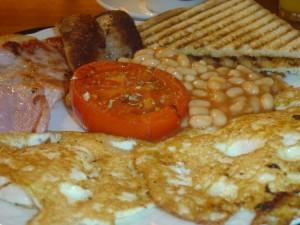 Un detalle más cercano del desayuno inglés