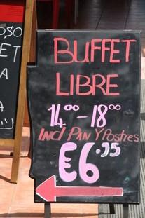Anuncio de buffet libre en castellano. 6,75€