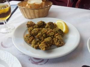 Detalle ortigas de mar (anémonas). Es un plato que no es fácil de conseguir y suele ser caro. Una delicia de gourmets. Es típico de Cádiz. En este caso 12€