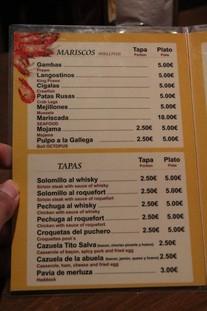 Menú. Detalles: plato de gambas 5 €, plato de mojama 5 €. Tapas.