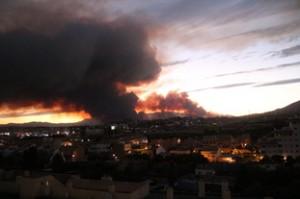 El humo va hacia Fuengirola