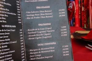 Un detalle de la carta de vinos. Por ejemplo, un rosado de Navarra, 13 €