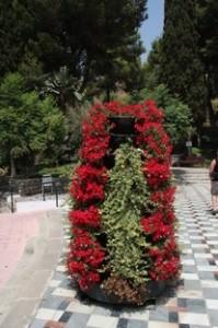 Flores en la explanada de entrada a las Cuevas de Nerja