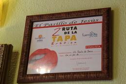 Diploma de finalista en la 2ª Ruta de la Tapa Erótica