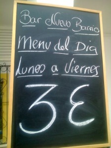 Menú del día 3€