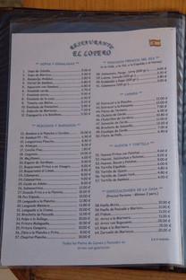 """Carta Restaurante Salvador """"El lotero"""""""