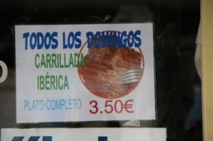 """Otra oferta muy interesante es que los domingos tienen """"Carrillada Ibérica"""" por 3,50€"""