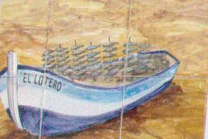 Un detalle de la cerámica con su bolichito lleno de espetos de sardinas.