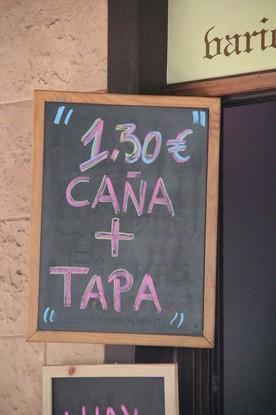 Tapa + Caña 1,30€. También puede ser vino + tapa