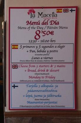 Menú del día 8,50€