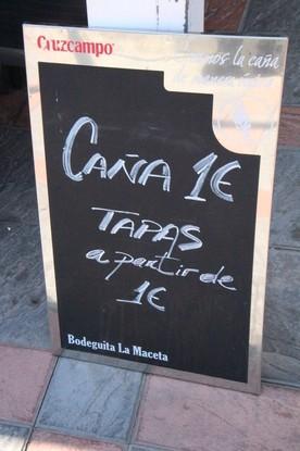 Otras ofertas: Caña 1€, tapas a partir de 1€