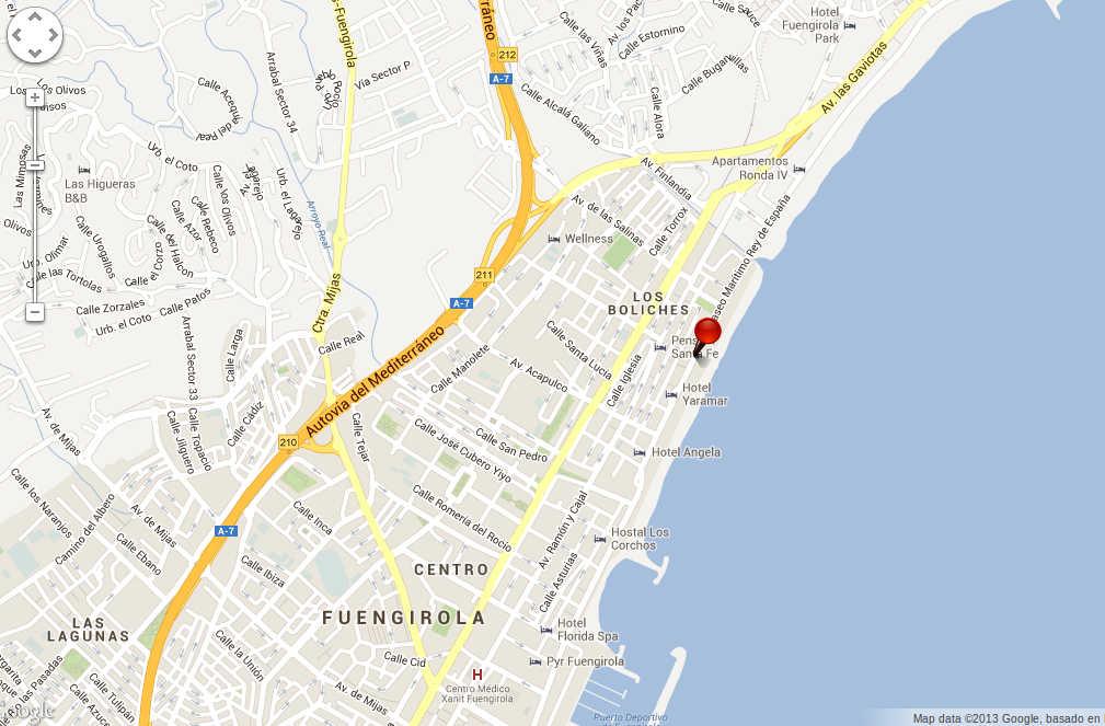 La chincheta roja indica la ubicación de Trefpunt