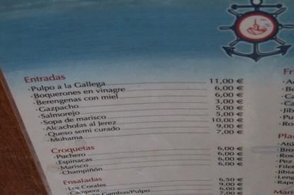 Otrop detalle de la carta: pulpo 12 €