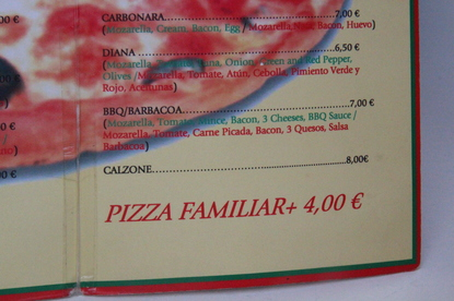 Pizza familiar+ 4€