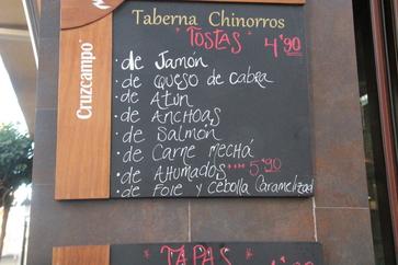 Tostas a 4,80€. de Jamón, de queso de, de atún, etc.