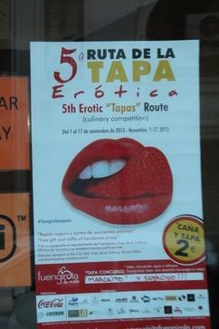 """Cartel en el que se indica que """"Canela"""" participa en la Qunta Rita de la Tapa erótica"""
