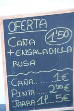 Caña 2€, pinta 2,20€, 1 litro de creveza: