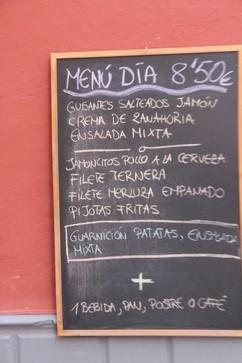 menú del día: 8,50, incluyendo bebida