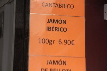 Jamón ibérico. 100 gr 6,90€