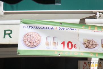 Pulpo a la gallega más dos cañas: 10€
