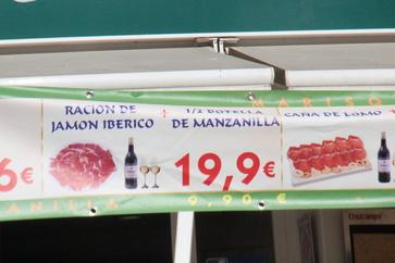 Ración de jamón ibérico más botella de manzanilla 19,90€