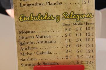 Embutidos y salazones: Mojama, tapa 2€, media ración 5€,