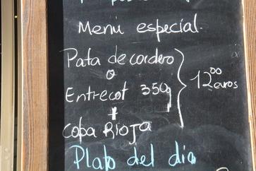 Menú especial que incluye pata de cordero o entrecot, 12€