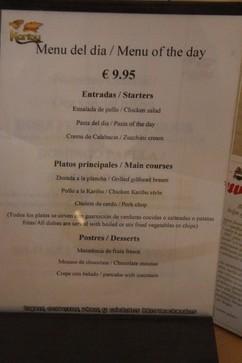 Menú del día 9,95€. Por ejemplo, entrandas