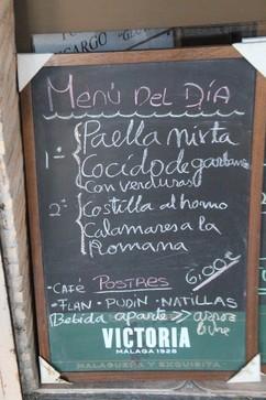 Menú del día: 6 € e incluye: primero, segundo y postre; no incluye bebida