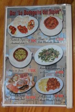La oferta de arriba a la izquierda es un selección de cinco tapas por 7,50€