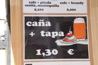 Caña + tapa 1,30€