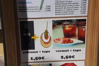 Vermut + tapa 2,50€. Refresco + tapa 1,50€