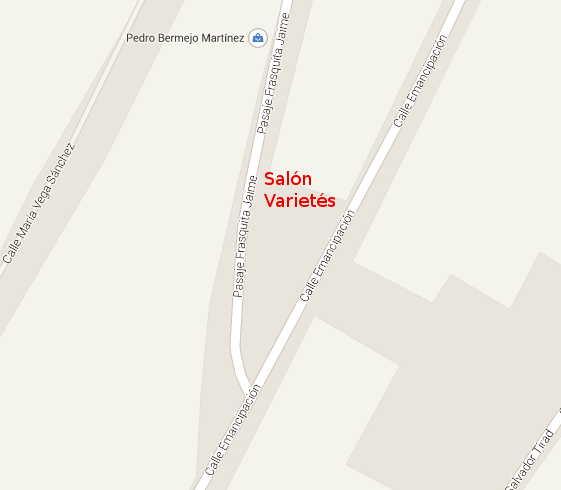 Mapa. Izquierda callejón de Frasquita Jai,e, derecha Calle Emancipación