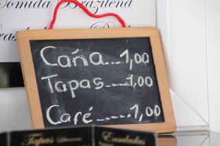 Caña 1 €, tapas 1€, café 1€
