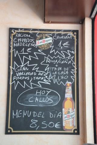 Otras ofertyas: churros madrileños, callos, y Menú del día por