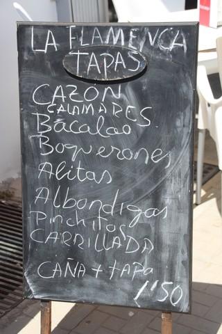 La Flamenca. tapas Cazón, bacalao, albóndigas, carrillada,... Caña+tapa: 1,50€