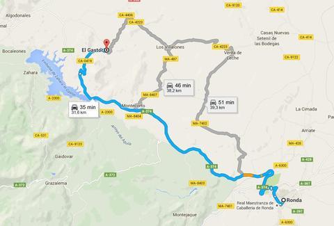 Camino de Ronda-El Gasrtor. A la derecha arriba, Setenil de las bodegas, donde irems por la tarde. Mapa gentileza de Google Maps