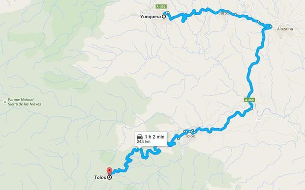Tolox-Yunquera. Mapa cortesís de Google maps