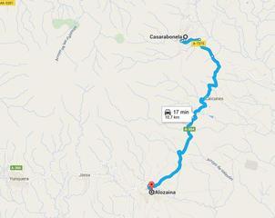 De Alo a Casarabonela. Mapa gentileza Google maps