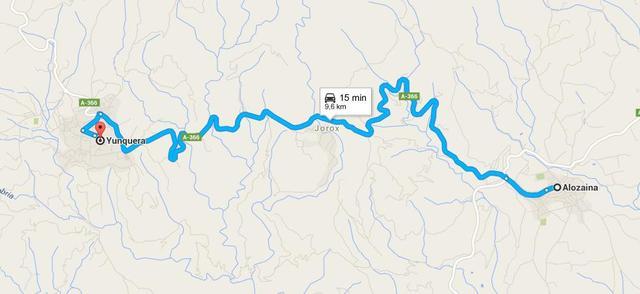 Yunquera-Alozaina. Mapa gentileza de Google Maps