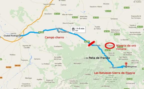 Ruta desde Mogarraz a Ciudad Rodrigo