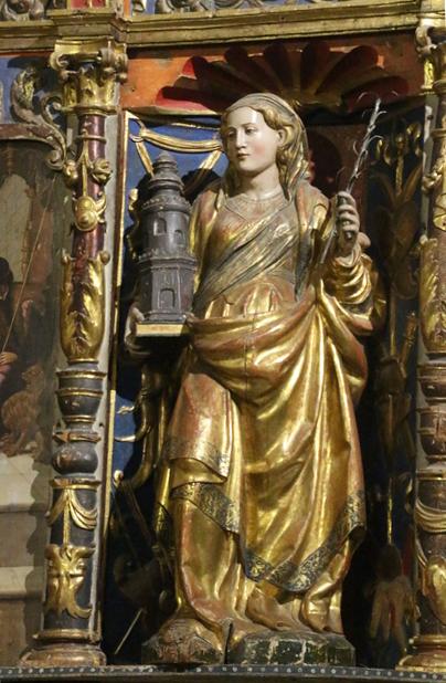 Santa Bárbara en la capilla que lleva su nombre en la Catedral Vieja de Salamanca.