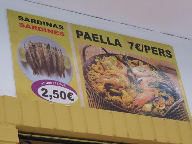 Sardinas 2,50€, paella 7€/persona.