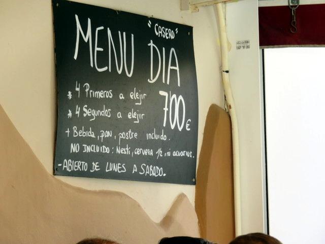 Menú del día por 7 Euros.