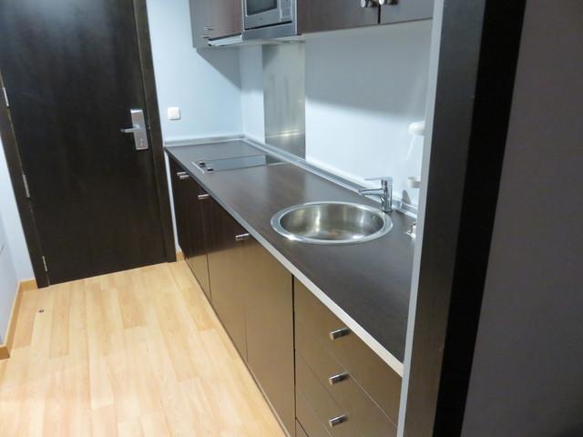 También dispone de cocina y de horno de microndas.