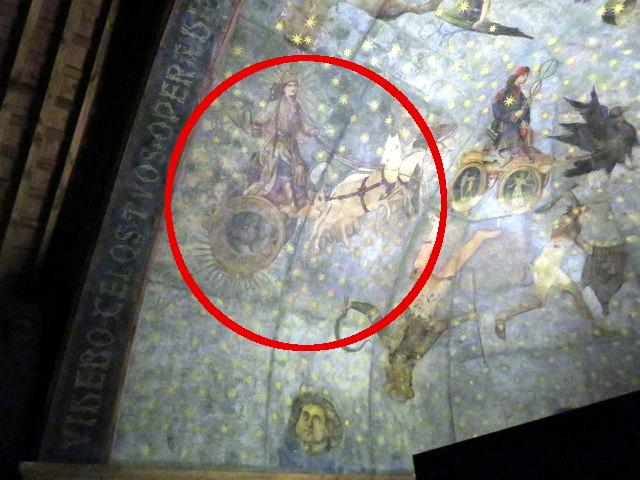 Helios en su carro de fuego. Pintura del Planetario en la Biblioteca de la Universidad de Salamanca, que nosotros visitamos el día 6.