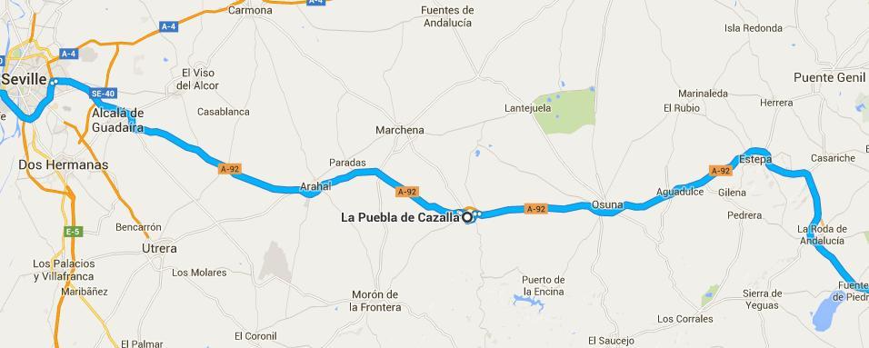 Ubicación de La Puebla de Cazalla.