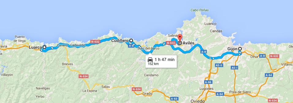 La ruta que seguimos fue: Gijón-Cudillero-Kuarca-Avilés-Gijón. Gentileza de Google Maps.