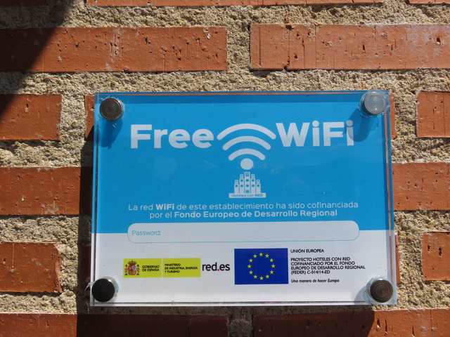 Wifi gratis financiado por la Unión Europea.